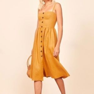NWT Reformation Tori Dress in Ochre, Size 4